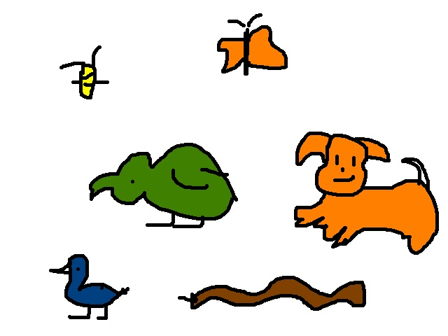 Pets : Bumblebee, Butterfly, Parrot, Dog, Duck, Snake
