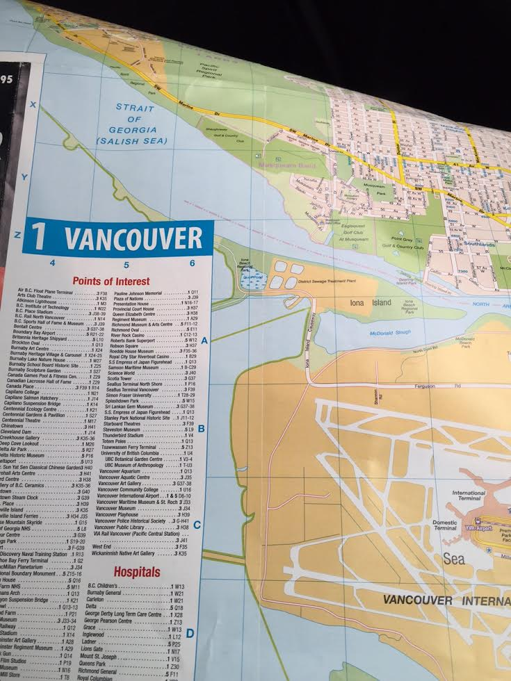 Paper map of Vancouver