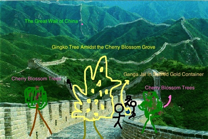 Pada Yatra to see Gingko Tree amidst Grove of Japanese Cherry blossoms on the Great Wall of China